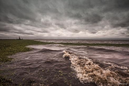 La tormenta, el r�o, los camalotes y el muelle.